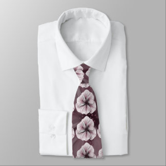 Pink and White Floral on Burgundy Tie