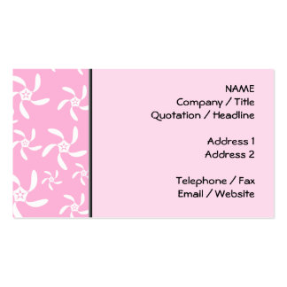 Pink and white floral pattern. business card template