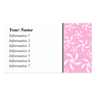 Pink and white floral pattern. business card