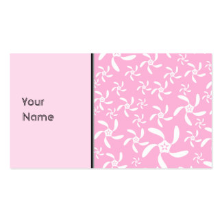 Pink and white floral pattern. business cards