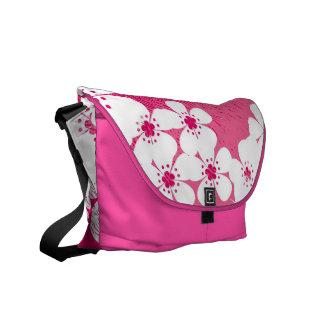Pink and white floral pattern grunge vintage messenger bag