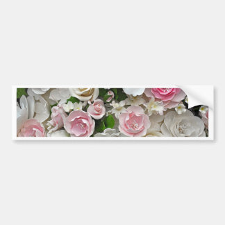 Pink and white floral print bumper sticker