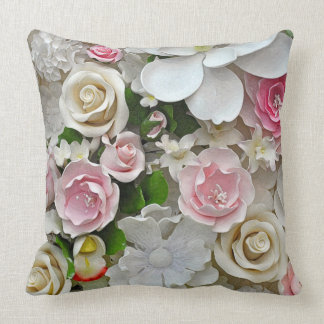 Pink and white floral print throw pillow