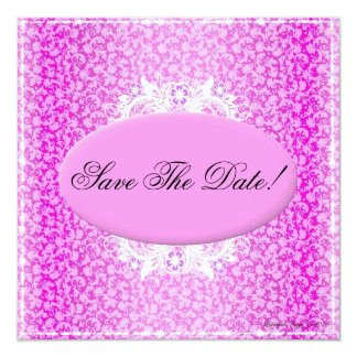 Pink and White Floral Save The Date Invitation