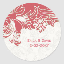 Pink and White Floral Spring Wedding Classic Round Sticker