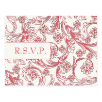 Pink and White Floral Spring Wedding Postcard