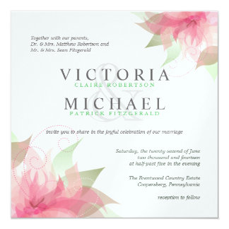 Pink and White Floral - Square Wedding Invitations