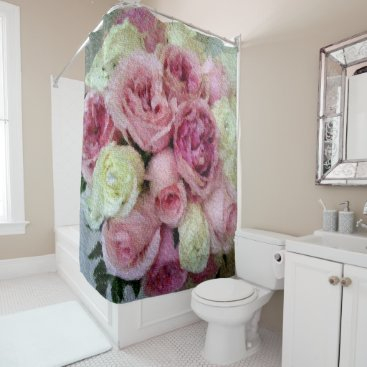 celestesheffey Pink and white floral tapestry shower curtain