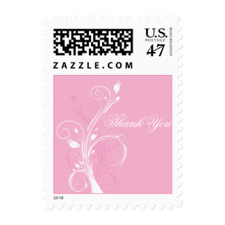 Pink and White Floral Thank You Postage