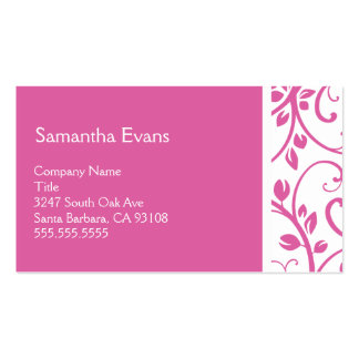 Pink and White Floral Vine Business Card