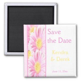 Pink and White Floral Wedding Favor Magnet magnet