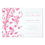 "Pink and White Floral Wedding Invitation 5"" X 7"" Invitation Card"