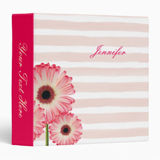 Pink and White Flower and Pale Stripes 3 Ring Binders