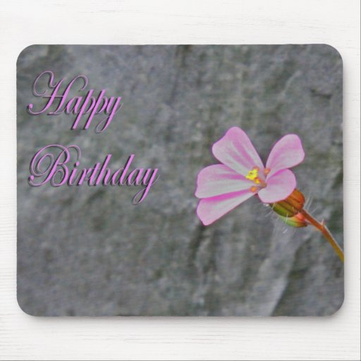 Pink and White Flower Birthday Mouse Pad