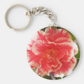 Pink and White Flower Keychain