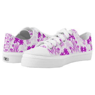 Pink And White Flower Low Top Sneakers Printed Shoes