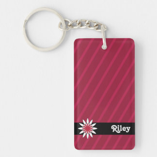 Pink and white flower monogram keychain