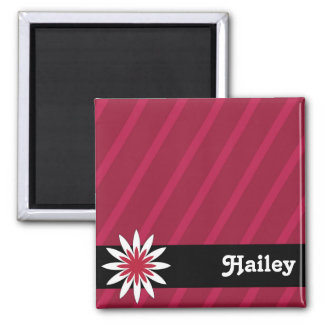 Pink and white flower monogram magnet