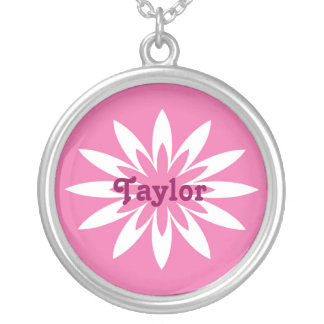 Pink and white flower monogram necklace