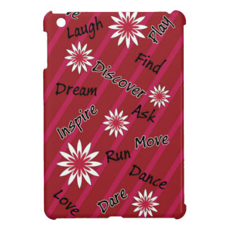 Pink and white flower motivational ipad mini case