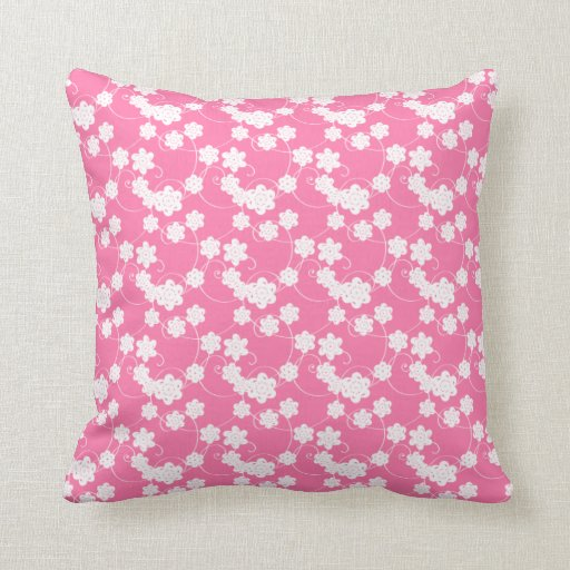 Pink and White Flower Pattern Throw Pillow Zazzle