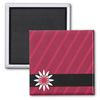 Pink and white flower stripes magnet