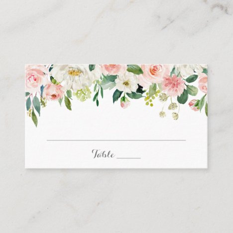 Pink and White Flower Wedding Flat Place Card