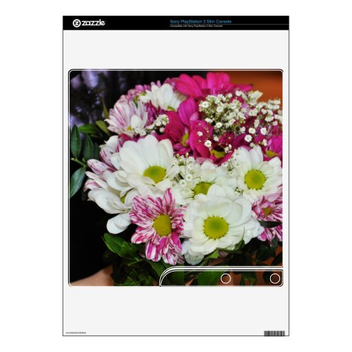 Pink and white flowers bouquet PS3 slim console decal