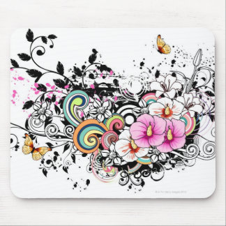 Pink and White Flowers Mouse Pad