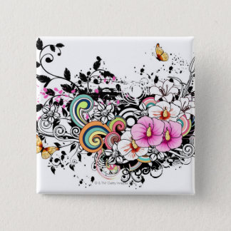 Pink and White Flowers Pinback Button