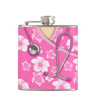 Pink And White Flowers Turtles Medical Scrubs Flask