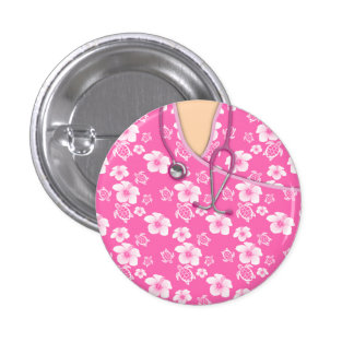 Pink And White Flowers Turtles Medical Scrubs Pinback Button