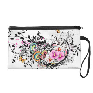 Pink and White Flowers Wristlet Purse