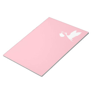 Pink and White Flying Stork Notepad