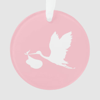 Pink and White Flying Stork Ornament