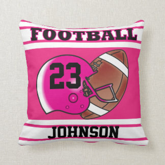 Pink and White Football Throw Pillow