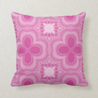 Pink and White Four Petal Flower Abstract Pillow