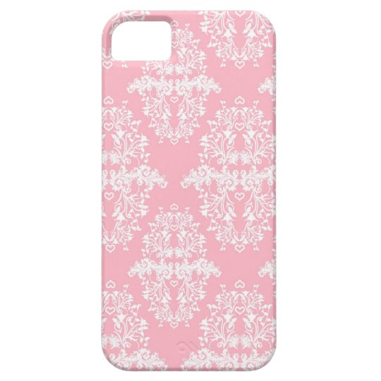 Pink and White Frilly Damask Style Vintage Art iPhone SE/5/5s Case