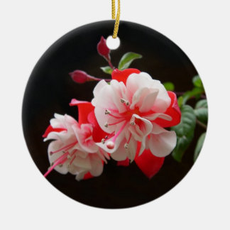 Pink and white fuchsia Double-Sided ceramic round christmas ornament