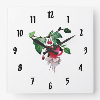 Pink and White Fuschia Square Wall Clock