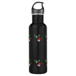 Pink and White Fuschia Stainless Steel Water Bottle