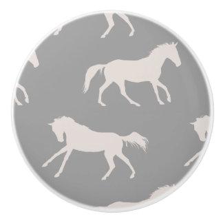 Pink and White Galloping Horses Pattern Ceramic Knob