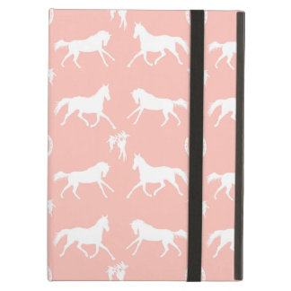 Pink and White Galloping Horses Pattern Cover For iPad Air