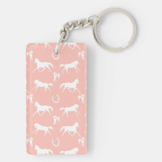 Pink and White Galloping Horses Pattern Double-Sided Rectangular Acrylic Keychain