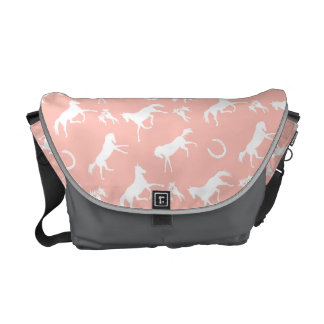 Pink and White Galloping Horses Pattern Courier Bag
