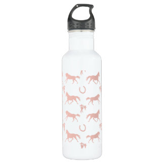 Pink and White Galloping Horses Pattern 24oz Water Bottle