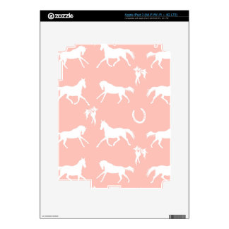 Pink and White Galloping Horses Pattern iPad 3 Decal