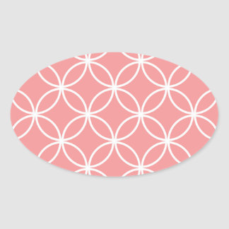 Pink and White Geometric Design Overlapping Circle Oval Sticker
