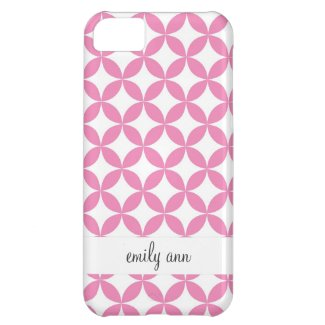 Pink and White Geometric Pattern iPhone 5C Cases