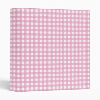 Pink and White Gingham Binder